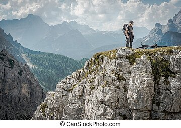 Mountain Biker in Dolomites