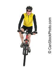 Mountain biker in studio - Active mountain biker rides in...