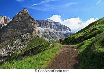 mountain biker on Pordoi pass