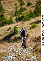 Mountain biker on trails - Mountain bike cyclist in sport...