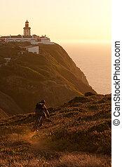 Mountain biker at sunset