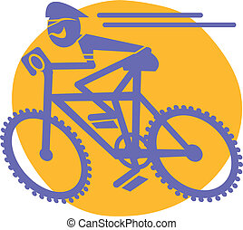 Mountain Biker riding bicycle or mountain bike racing clip art in vector format.