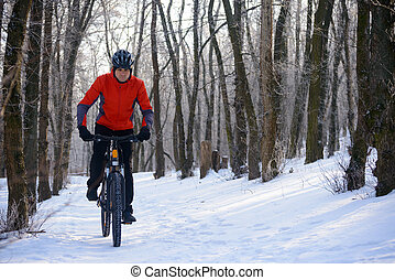 Mountain Biker Riding Bike on the Snowy Trail in Beautiful Winter Forest