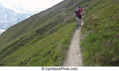 Mountain biker riding downhill