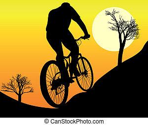 mountain biker on an orange background
