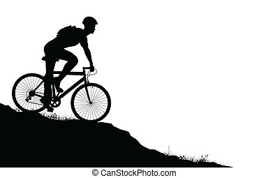 Mountain biker - Vector foreground silhouette of a man on a...