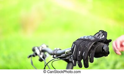 Mountain biker wears gloves