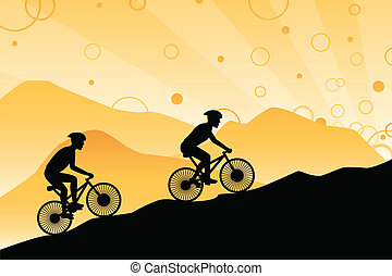 Mountain bikers - A vector illustration of a group of...