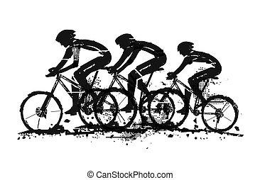 Mountain bikers in full speed.
