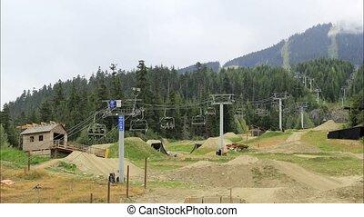 Mountain Bikers in Whistlers BC Canada with Gondola Ski...