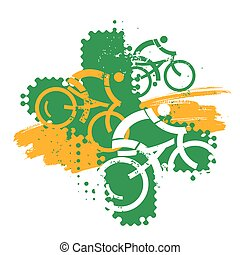 Expressive  grunge stylized illustration of mountain bike cyclists. Vector available.