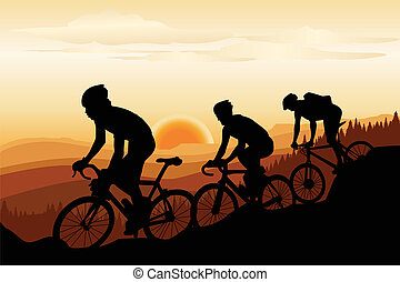 Mountain biking - A vector illustration of a group of ...