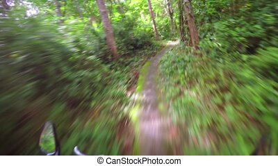 Mountain Biking along Tropical Nature Trail in Timelapse -...