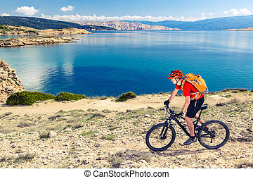 Mountain biking at the seaside bike dirt enduro trail