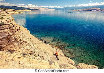 Mountain biking at the seaside bike trail