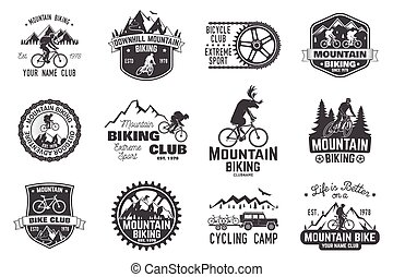 Mountain biking collection. Vector illustration. - Set of...