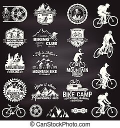 Mountain biking collection. Vector illustration.