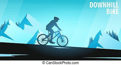 Mountain biking. Downhill bike. Sport banner, active lifestyle. Vector illustration.