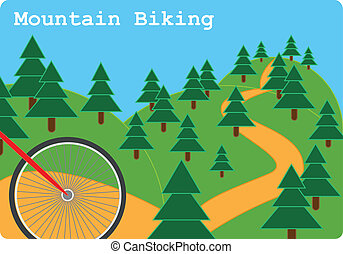 Mountain Biking - Mountain biking sport illustration with...