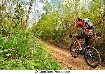 mountain biking  - man biking on a countryside road