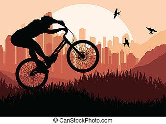 Mountain biking vector background for poster