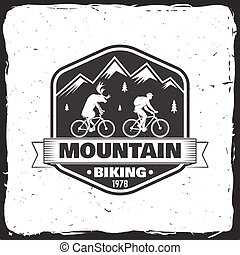 Vintage typography design with man riding bike and mountain silhouette.