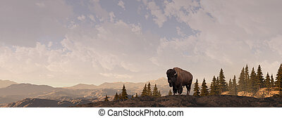 Buffalo grazing in the Rocky Mountains. Original illustrative composition, created by me using Vue 3d software.