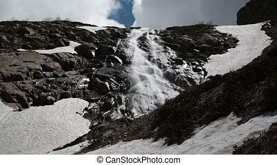Mountain Black Pyramid and waterfall Bear - Krasnaya...
