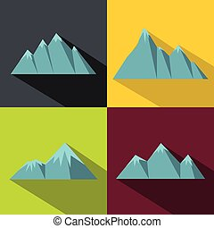 Mountain blue icons with long shadow on color background