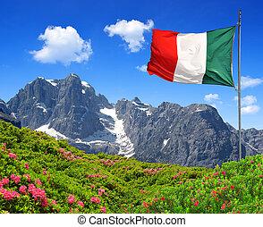 Mountain Brenta with Italy flag - Dolomites Italy