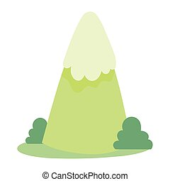 mountain bushes grass cartoon icon in isolated style