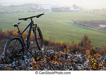 mountain-bycicle with beautiful landscape image