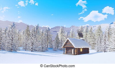 Mountain cabin and snowbound fir forest at night  Cozy