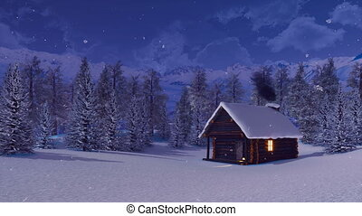 Mountain cabin and snowbound fir forest at night