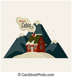 Mountain cabin. Red house in snowy mountains on light background.