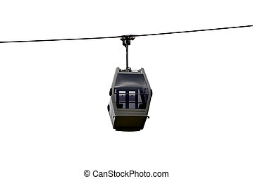 Mountain cable car isolated on white background....