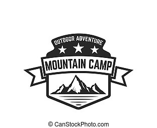 Mountain camp emblem template. Design element for logo, label, emblem, sign.