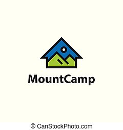 Mountain camp house. Vector logo template