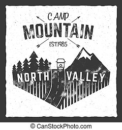 Mountain camp poster. North valley sign with rv trailer. Classic design. Outdoor adventures logo, retro colors. Graphic print design, tee shirt prints template. Vintage label, vector