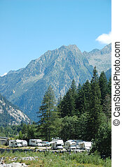 MOUNTAIN CAMPGROUND, recreational vehicle ( motorhome, camper), west alps, Italy