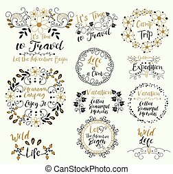 Mountain Camping. Enjoy It.Wild Life. Time to Travel. Vacation. Collect Beautiful Moments. Camp Trip. Outdoor Expedition. ..Let The Adventure Begin. is a Climb. Insignias logotypes, badges, stickers, stamps, icons, frames, card design set. Doodle vector vintage elements.