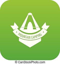 Mountain camping icon green vector