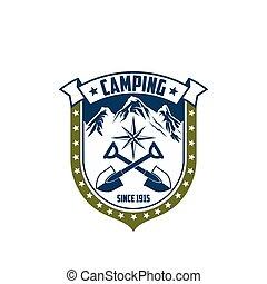 Mountain camping vector rock Alp compass icon