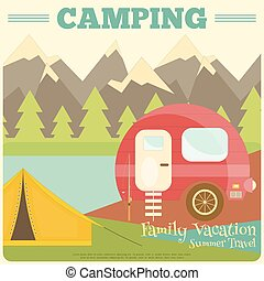 Camping - Mountain Camping with Family Trailer Caravan....