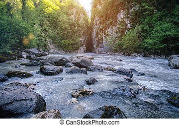 Mountain canyon River Landscape