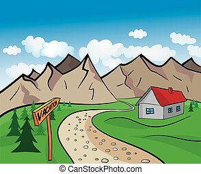 Mountain cartoon - Drawing mountain landscape with the house...