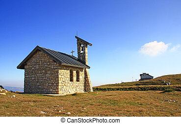Mountain chapel on Monte Altissimo di Nago (2.079m), Monte...
