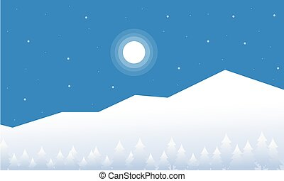 Mountain christmas landscape of vector flat