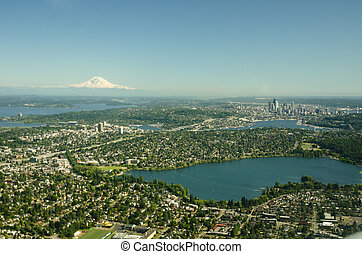 Mountain, City and Two Lakes - Aerial Perspective - Green ...