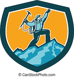 Illustration of mountain climber climbing reaching the summit celebrating holding ice axe set inside shield crest shape on isolated background done in retro woodcut style.